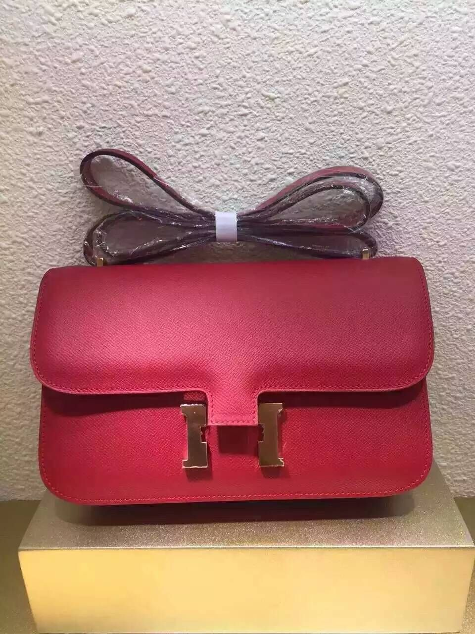 Limited Edition!2016 Hermes Little Bags Outlet With Free Shipping-Hermes  Classic Constance Shoulder Bag 26CM in Red Veau Epsom 187f956fba33f