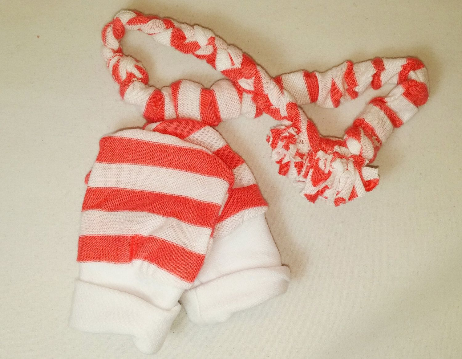 Hand Braided Headband Scratch Mitten Gift Set from MommiesLittleBaby