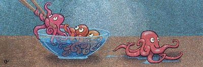 Octopus Bowl, Runaway baby octopi #Art