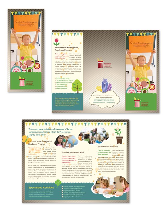 Preschool Education Tri Fold Brochure Template  Brochures And
