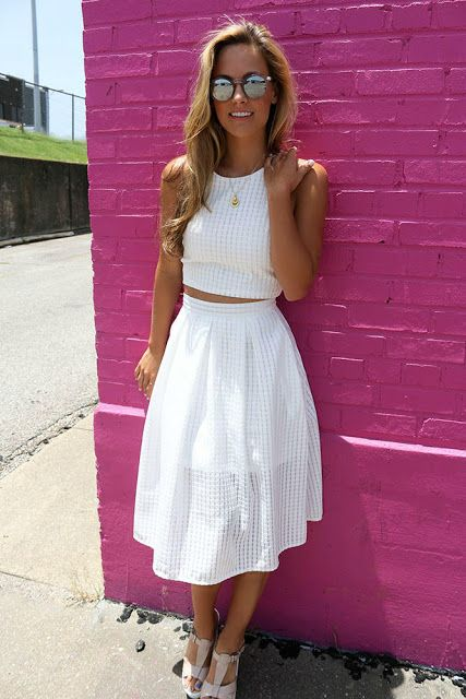 White Crop Top A Line Skirt Two Piece Set White Two Piece Outfit Fashion Skirt And Top Set