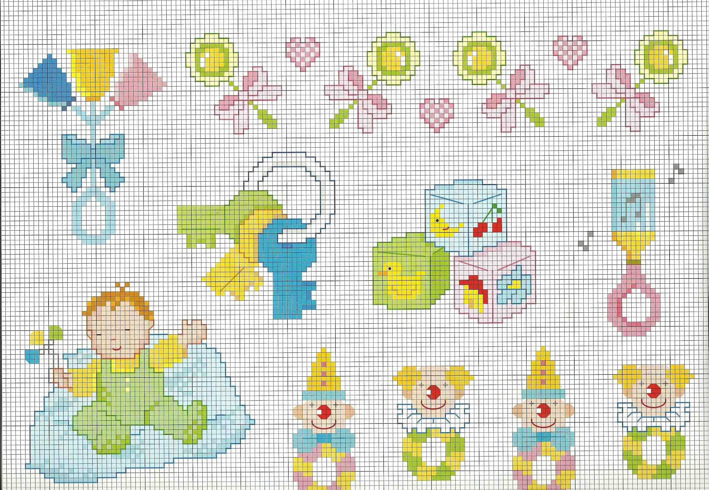 schemi punto croce idee copertina beb con sonaglini