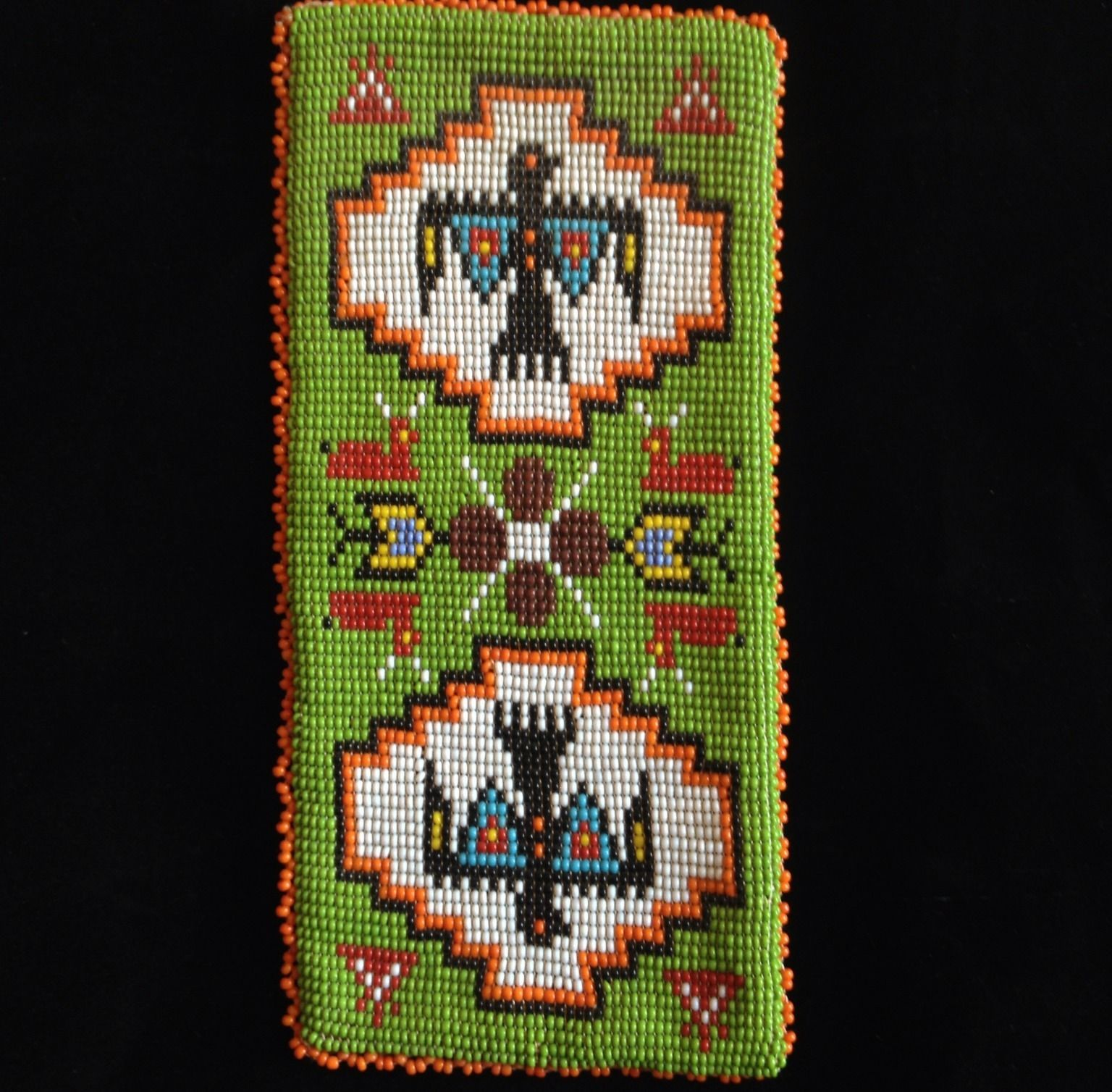 Hand Beaded Native Indian Purse Wallet Leather Vintage