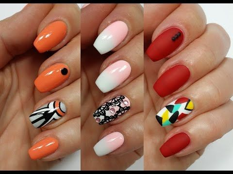 3 Easy Accent Nail Ideas! Freehand #1 (Khrystynas Nail Art) - YouTube