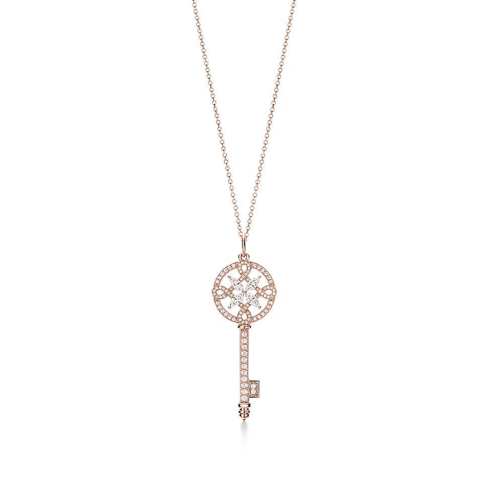 7d672e04f Tiffany Keys Tiffany Victoria® round key pendant in 18k rose gold with  diamonds. | Tiffany & Co.