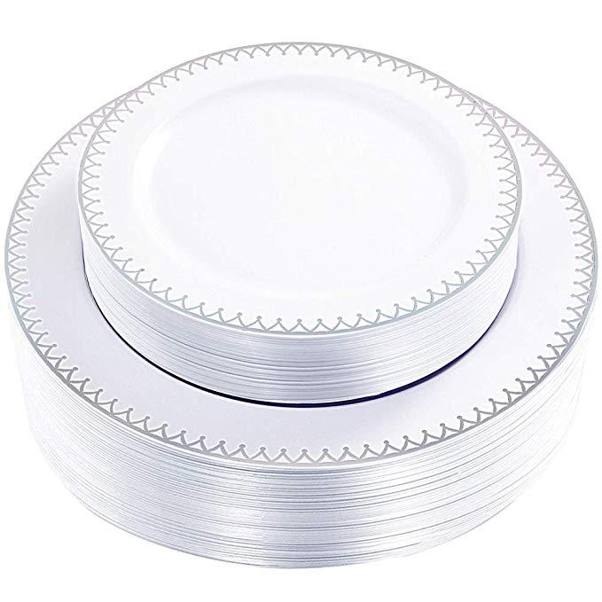 102 Pieces Gold Plastic Plates White Party Premium Heavyweight Disposable...