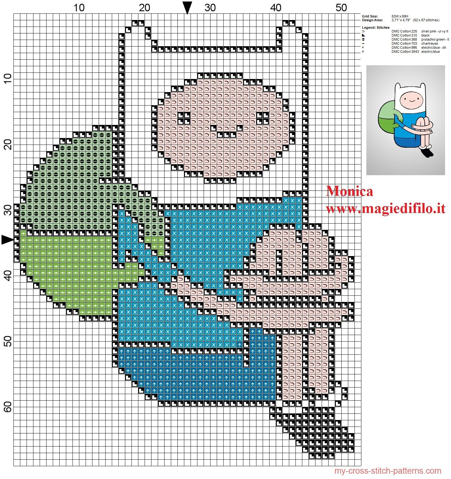 Finn the human (Adventure Time) - pattern by Monica | hama beads ...