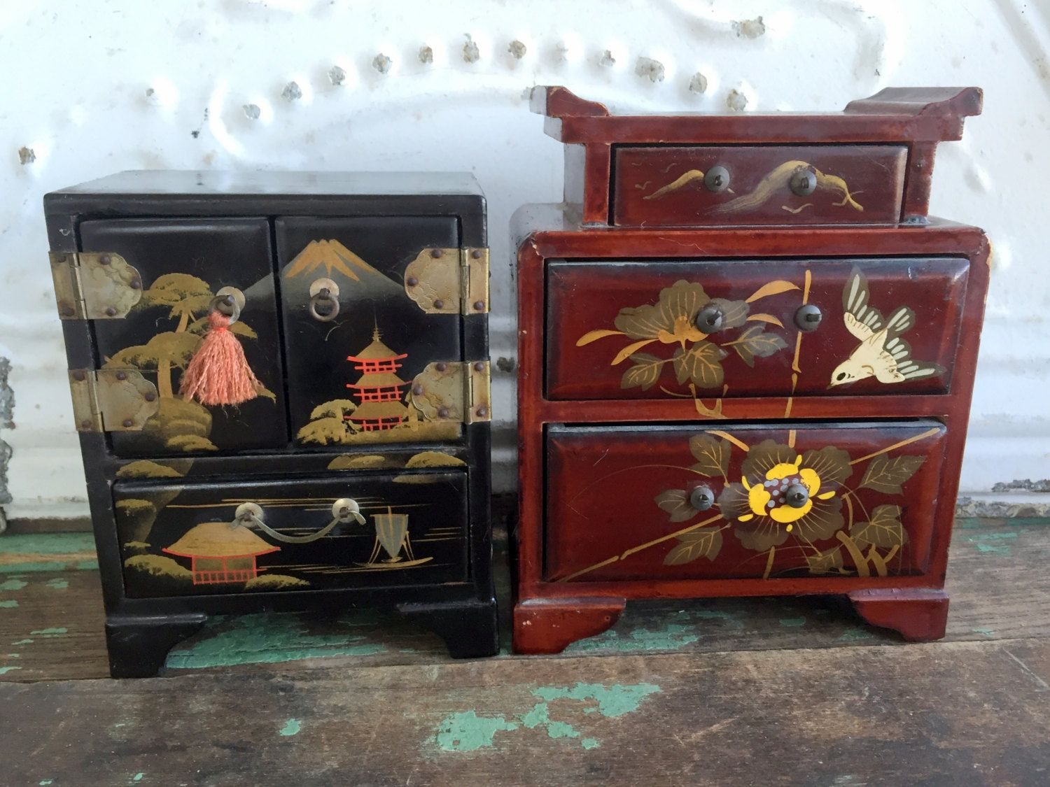 Antique Lot of small Asian Wood Box Cabinets Hand painted Bird ...
