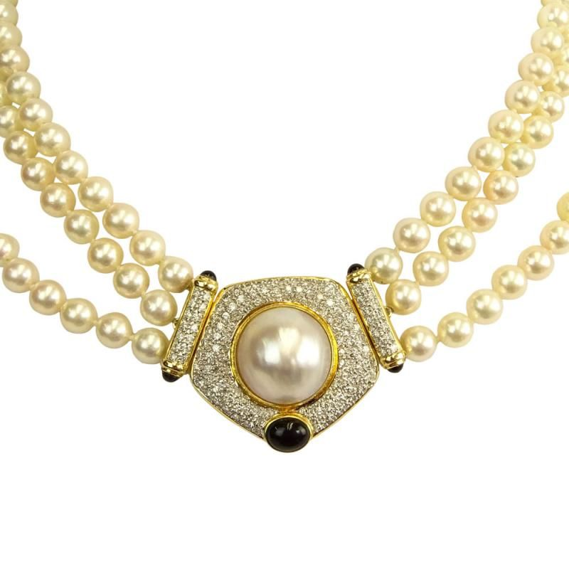 Vintage Three 3 Strand White Pearl Necklace With 14 Karat Yellow Gold Clasp White Pearl Necklace Natural Pearl Jewelry Pearl Necklace