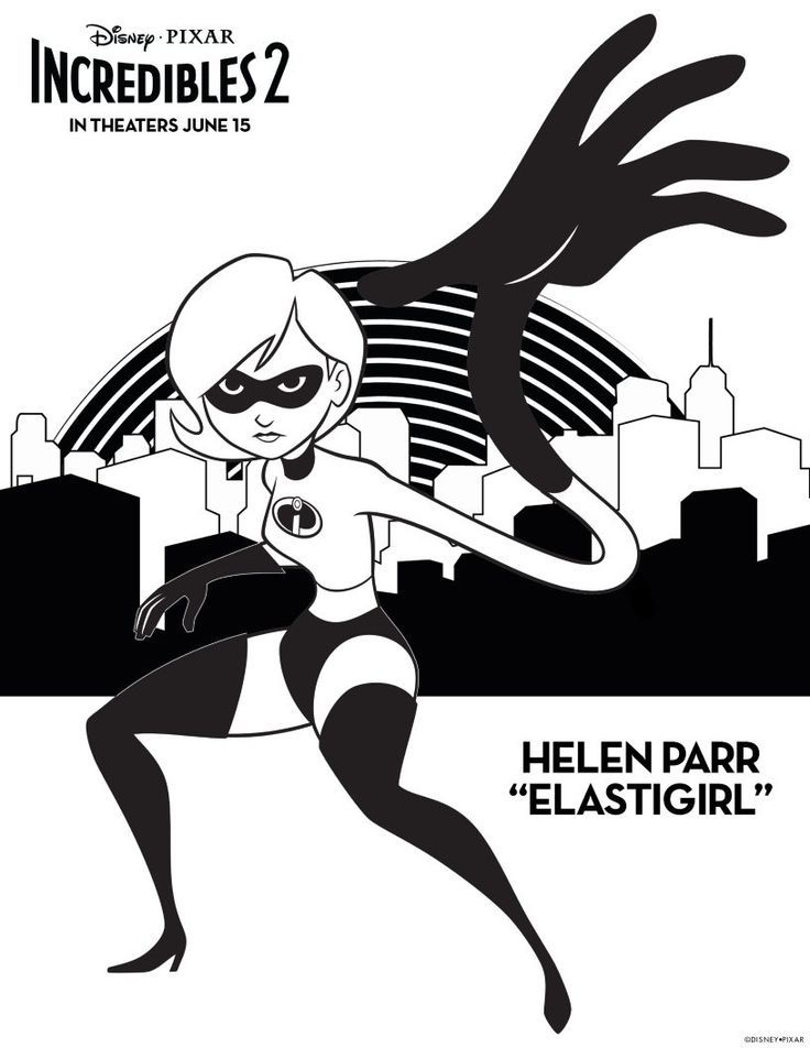 Elastigirl Coloring Page Free Disney Pixar Incredibles 2