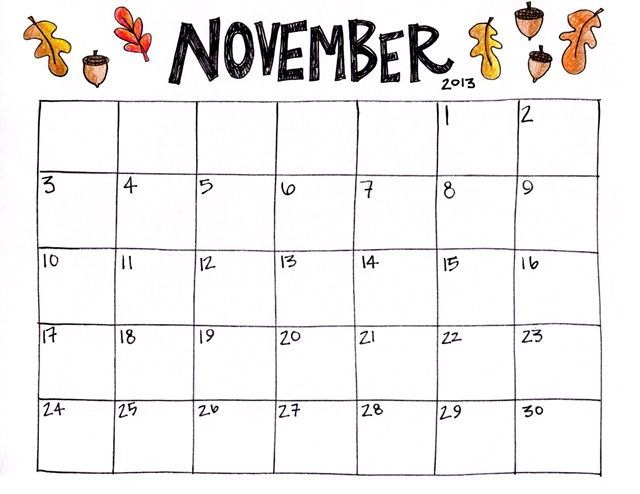 Blank November Calendar For Kindergarten : November calendar printable print it out at azulhome