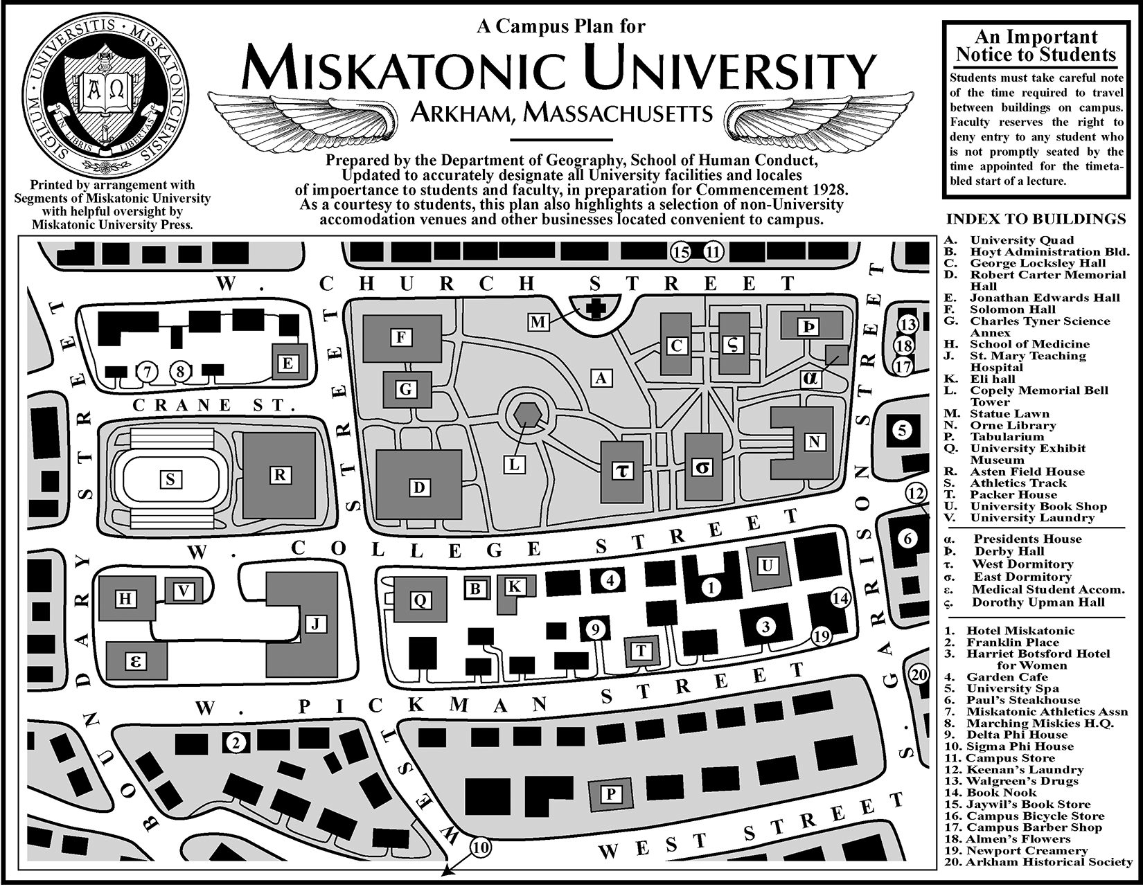 Miskatonic University Campus Map by MichaelArkAngel in 2019 ... on sweet briar campus map, texas lutheran campus map, stanford campus map, delta state campus map, north lamar campus map, william carey campus map, george mason campus map, chico state campus map, cardinal newman campus map, trinity campus map, pittsburg state campus map, upper iowa campus map, university of texas campus map, baylor campus map,