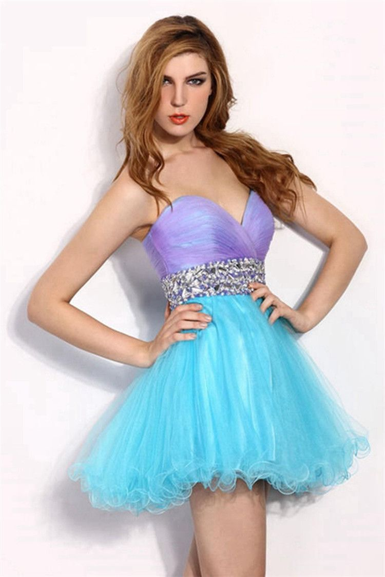 th grade prom dresses multicolor pleated crystal semi formal