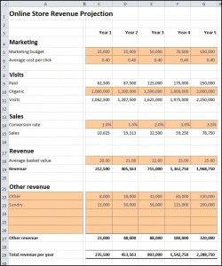 Free Online Store Revenue Projection Template Estimates Revenue - Business plan projections template