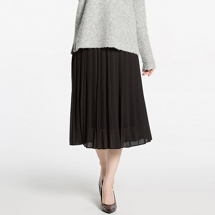 Women high waist chiffon pleated midi skirt | High waist, Uniqlo ...
