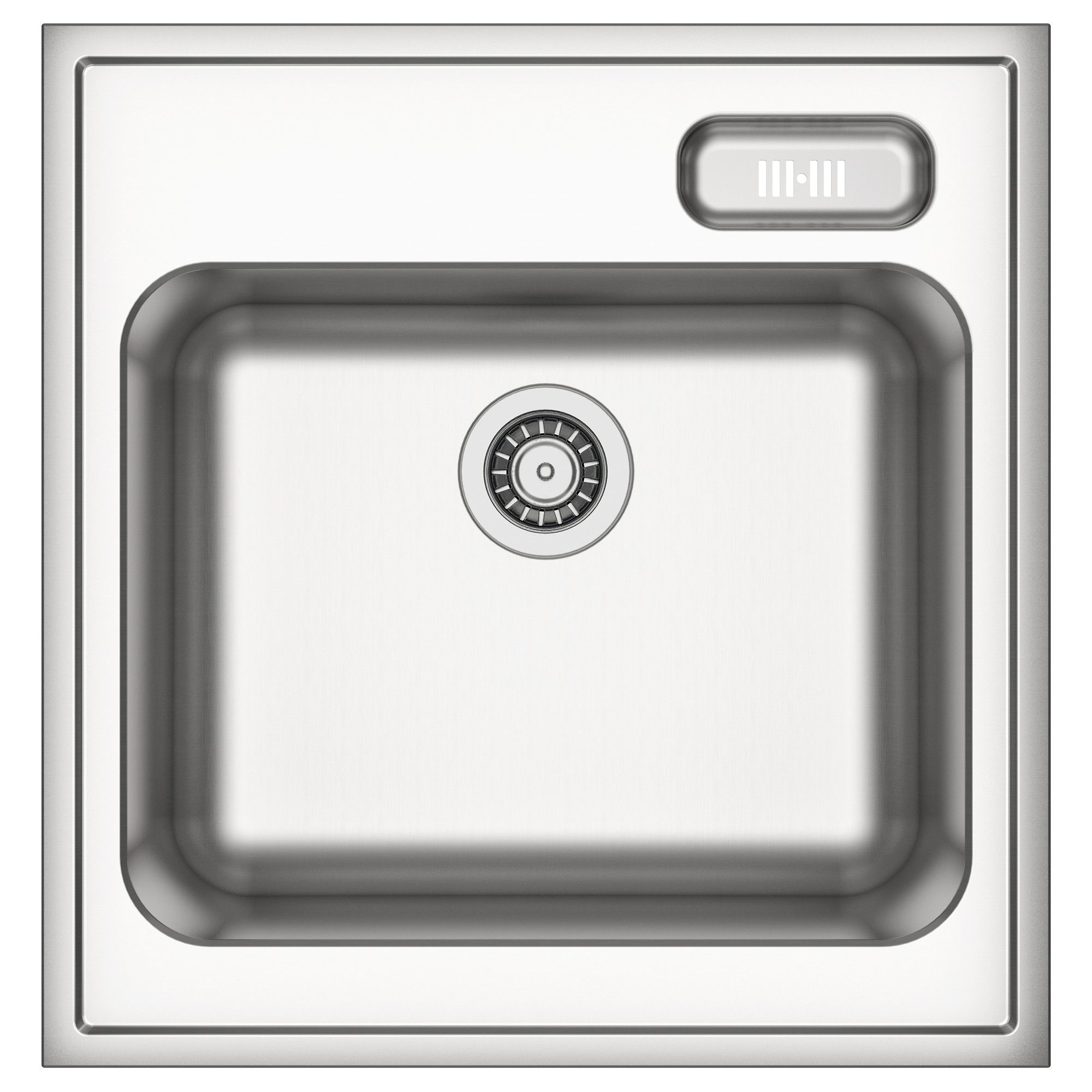 Kitchen sink with matching black glass tap landing and sliding cover - Boholmen Single Bowl Sink Stainless Steel 60x63 5 Cm Ikea