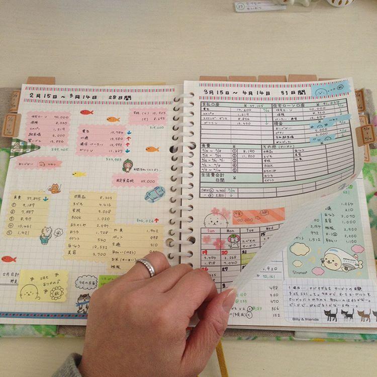 いつもの家計簿 めくると 1枚目の写真 左側は14日になるまでは
