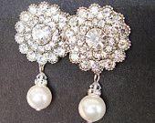 Art Deco Style Bridal Stud Earrings, Rhinestone & Pearl Wedding Bridal Earrings, Vintage Style Crystal Wedding Earrings #Jewelry www.finditforweddings.com