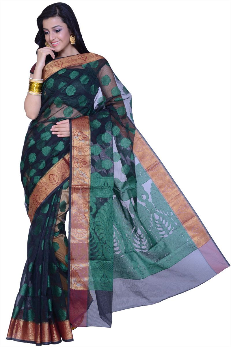 Black Supernet Handloom Party and Festival Saree Sku Code:367-4175SA541088