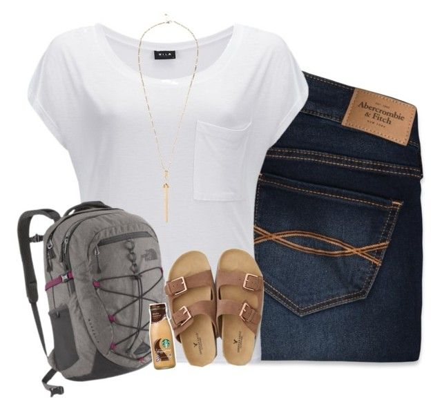 """today's outfit for school"" by i-am-bryana ❤ liked on Polyvore featuring Abercrombie & Fitch, VILA, The North Face, American Eagle Outfitters and River Island"
