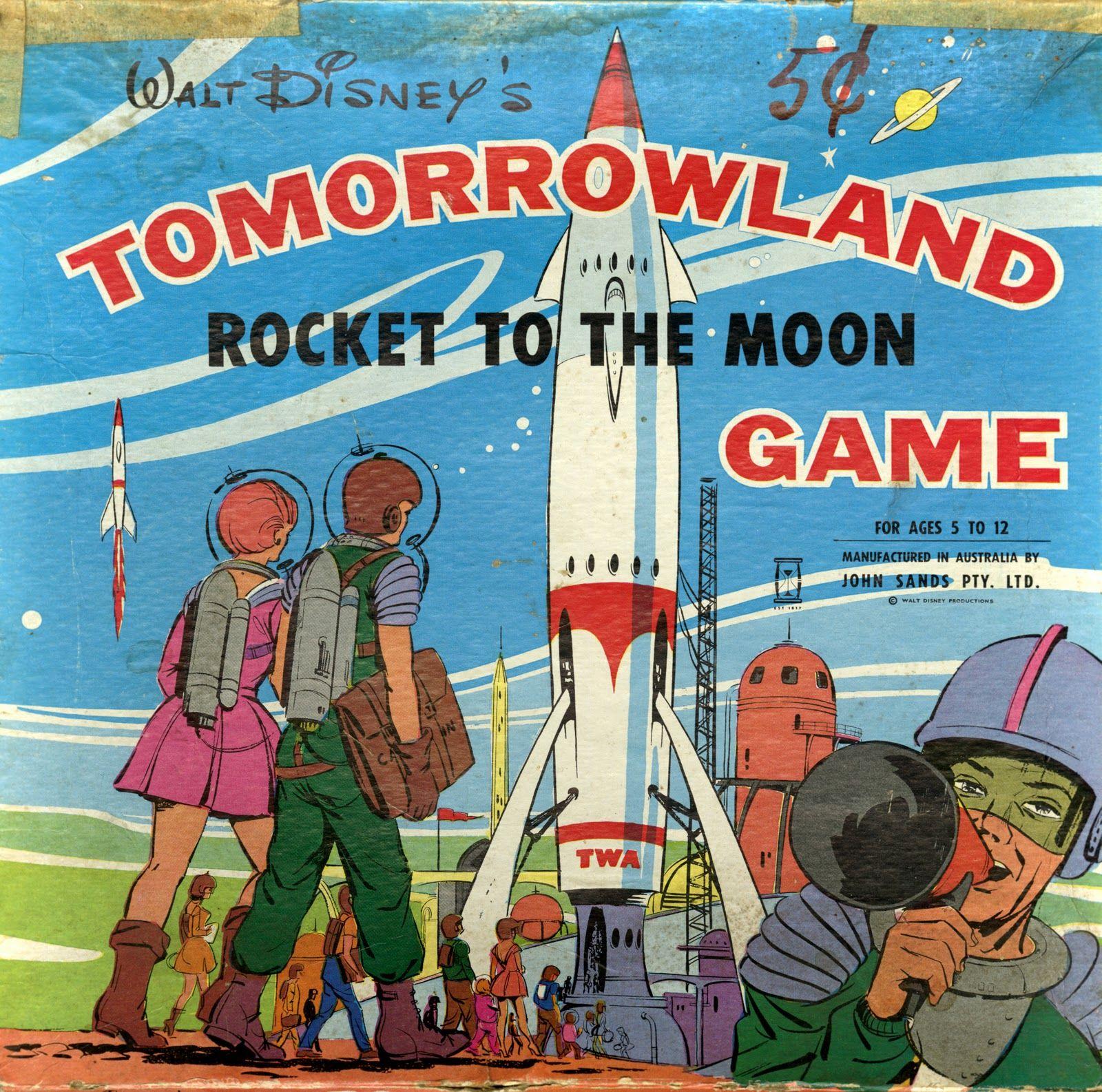 Walt Disney S Tomorrowland Rocket To The Moon Game Retro Disney Disney Games Vintage Disneyland