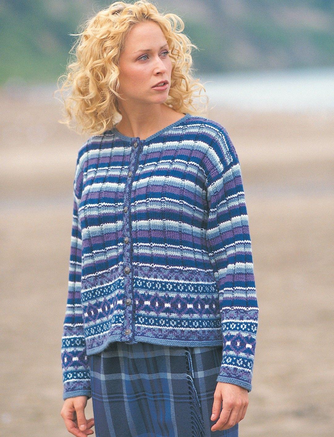 Yarnspirations.com - Patons Fair Isle Plaid Cardigan - Patterns ...