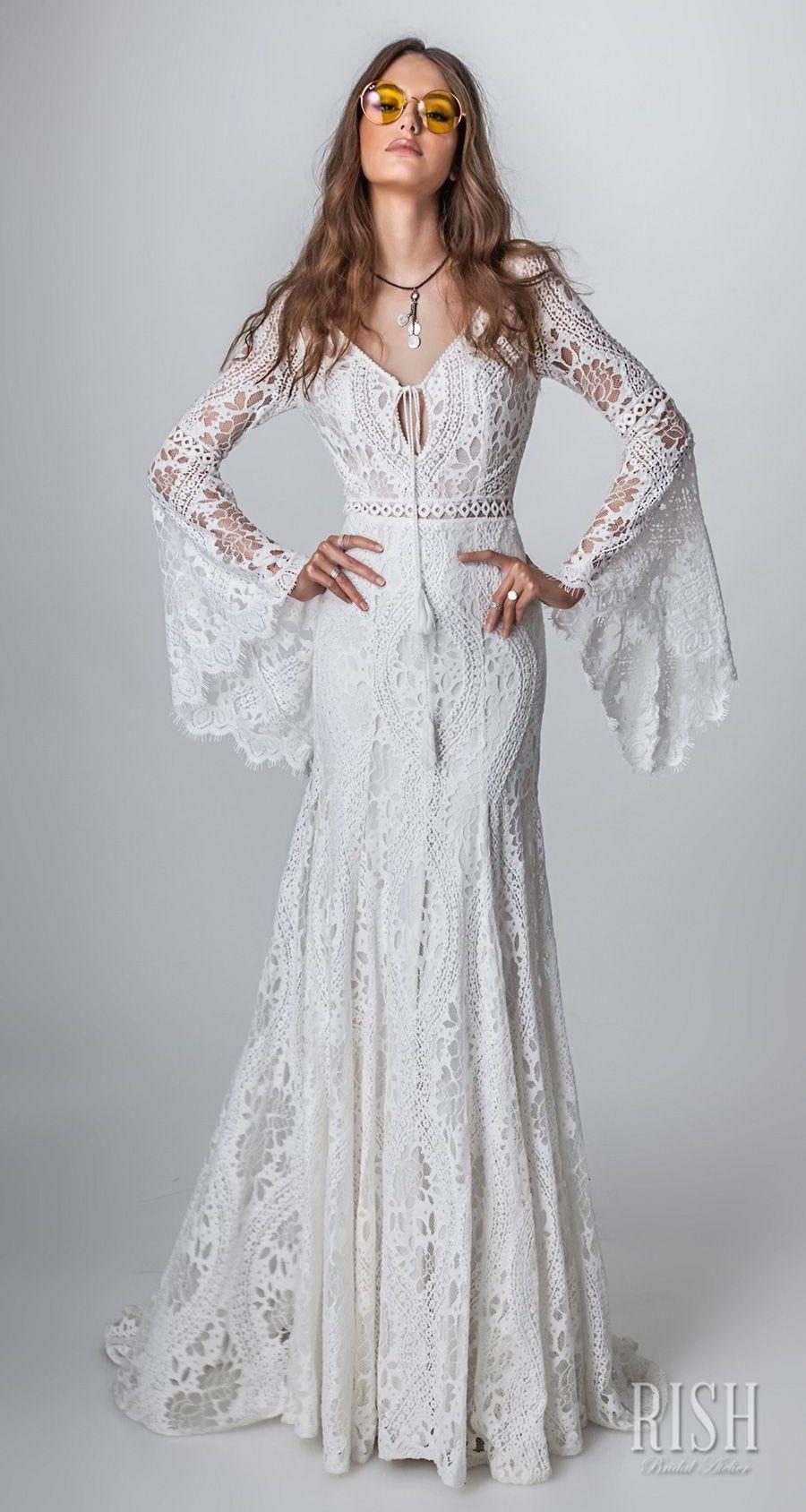 Rish Bridal Sun Dance 2018 Long Bell Sleeves V Neck Full Embellishment Bohemian Modified A Line Boho Chic Wedding Dress Chic Wedding Gown Chic Wedding Dresses