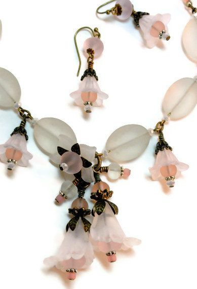 Vintage Style Slightly Pink Lots of White sea Glass  and Lucite by KCRlehrstudio, Cruise wear.