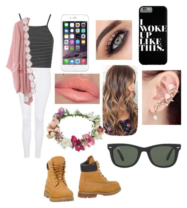 """""""Untitled #347"""" by thefashionqpolice ❤ liked on Polyvore featuring Topshop, Timberland and Ray-Ban"""