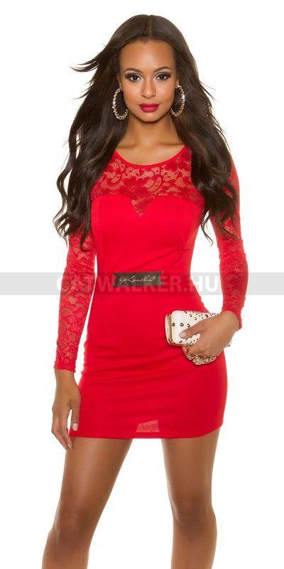 aa991f0481 Leírás: Alkalmi ruha vállán és karján csipkés - piros Anyaga: 95% Polyester  / 5% Elastane Több méret! Származási hely: EU.
