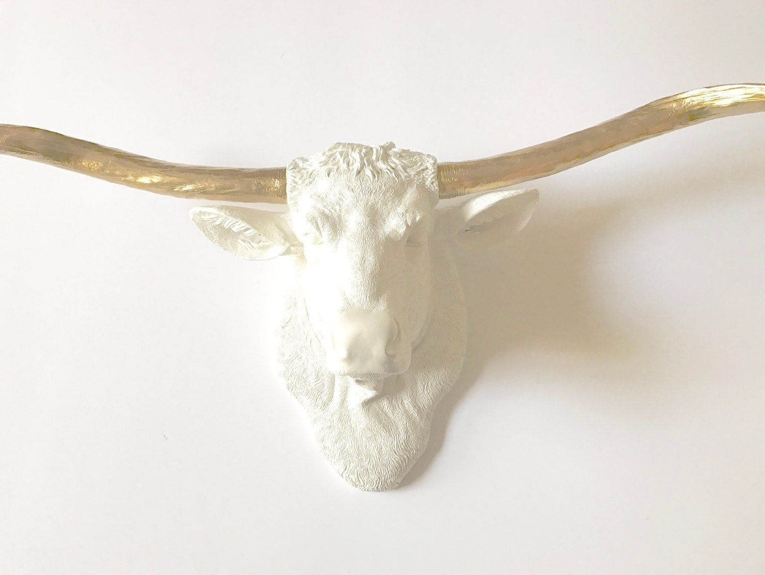 White Gold Large Long Horn Cow Head Animal Head Faux Taxidermy Cow Wall Mount Wall Hanging Faux Animal Head Fake An Faux Animal Head Fake Animal Heads Cow Head