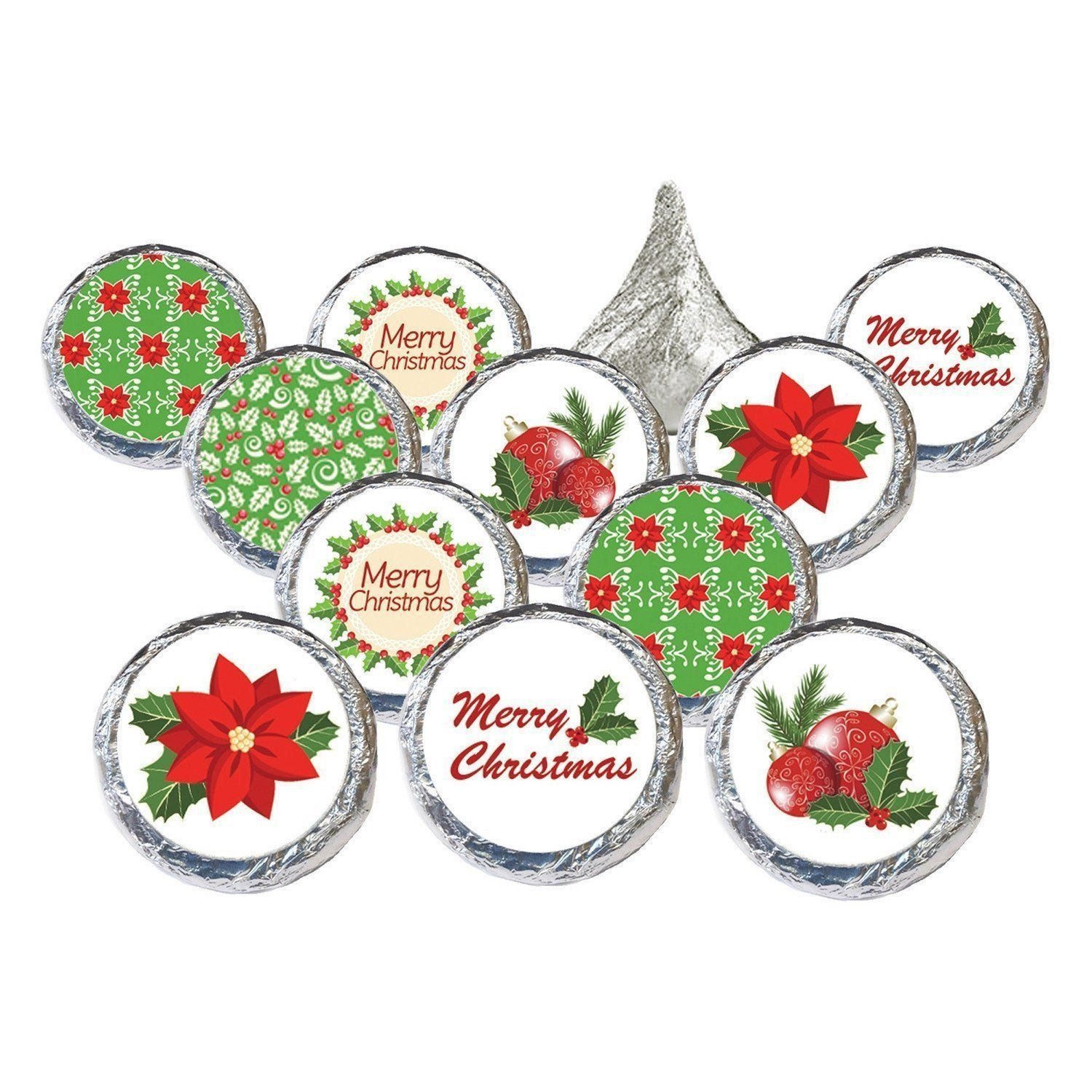 Merry Christmas Holly Collection Party Favors - Stickers for ...