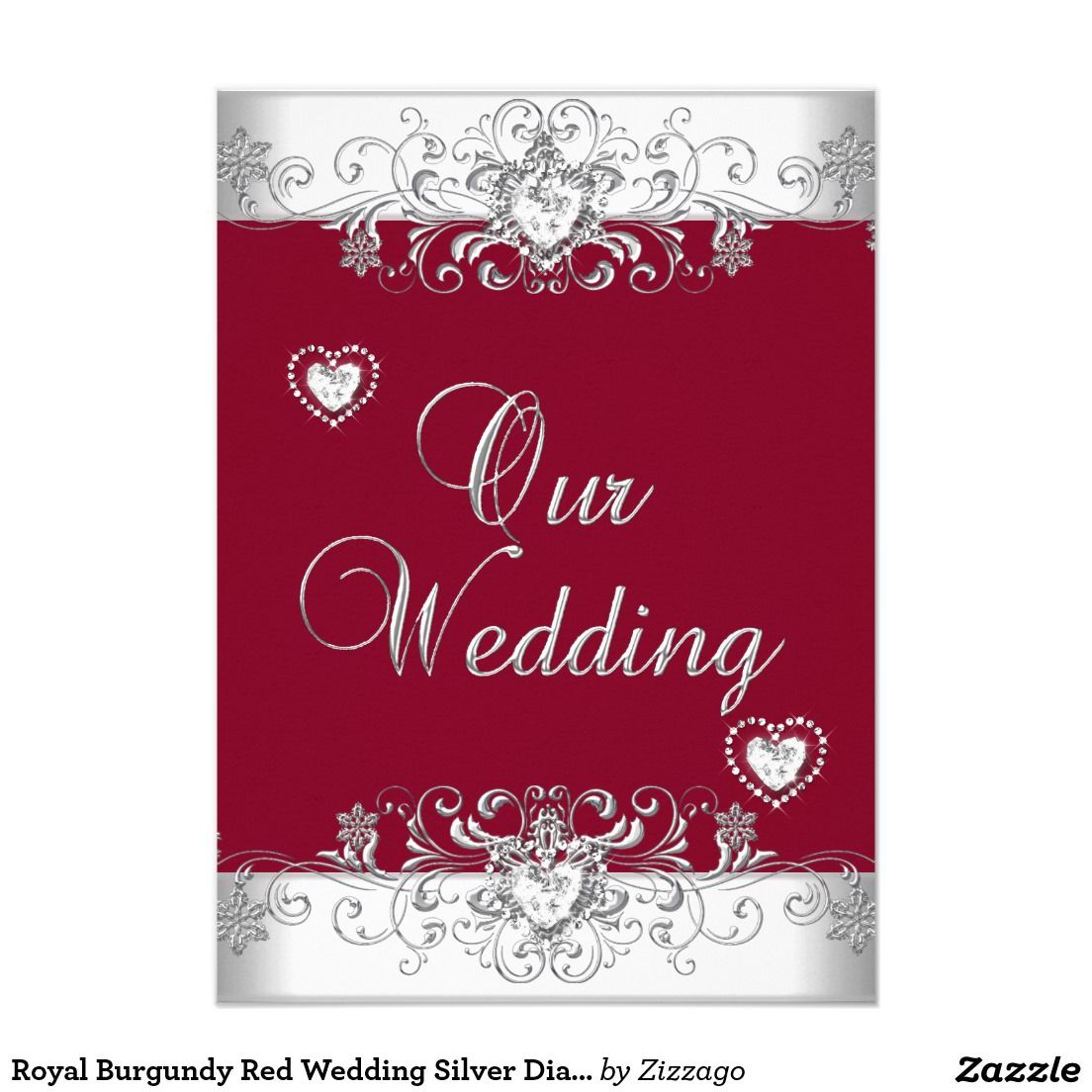 Royal Burgundy Red Wedding Silver Diamond Hearts Invitation | Silver ...