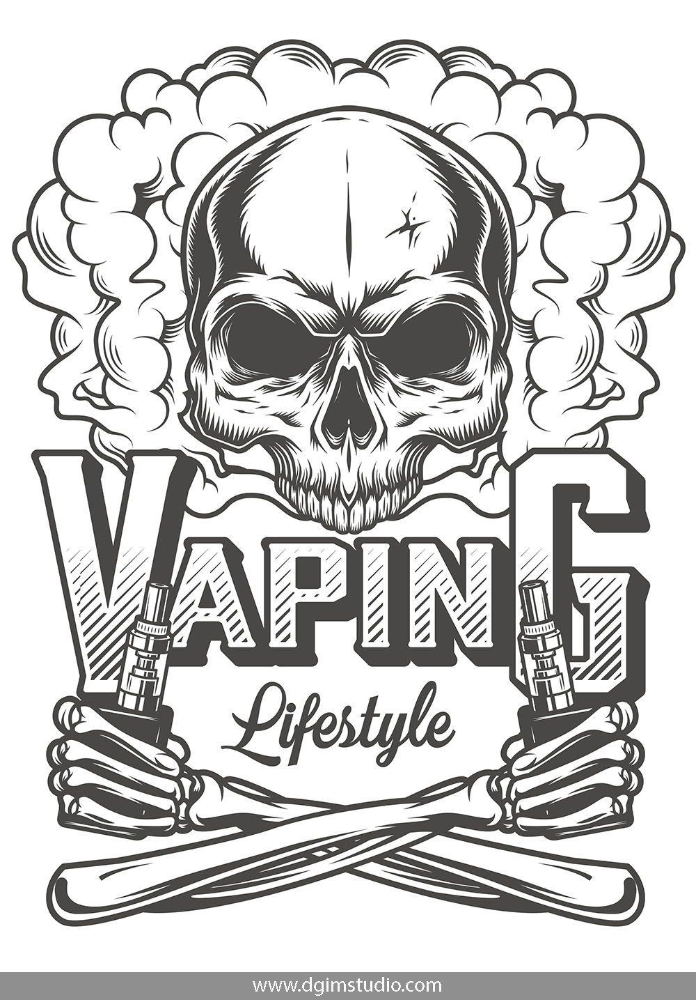 Skull creator Vape, Skull, Vintage tshirt design