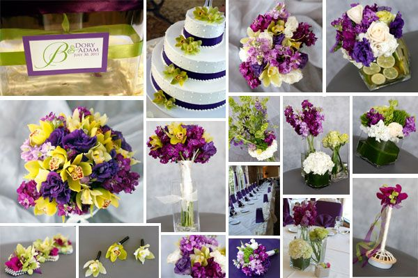 Purples, White & Lime Flowers at Idlewild Country Club