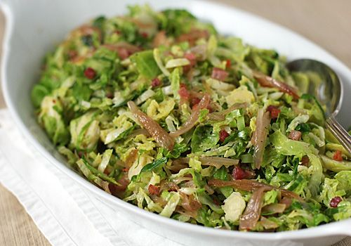 The Galley Gourmet: Brussels Sprout Hash with Caramelized Shallots and Pancetta - I love Brussels sprouts- this looks amazing!
