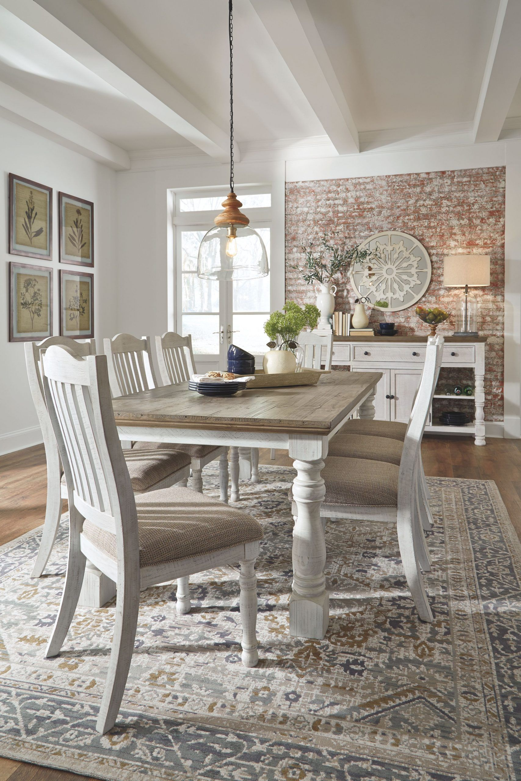 Havalance Dining Room Table White Gray In 2020 Farmhouse Dining Room Table