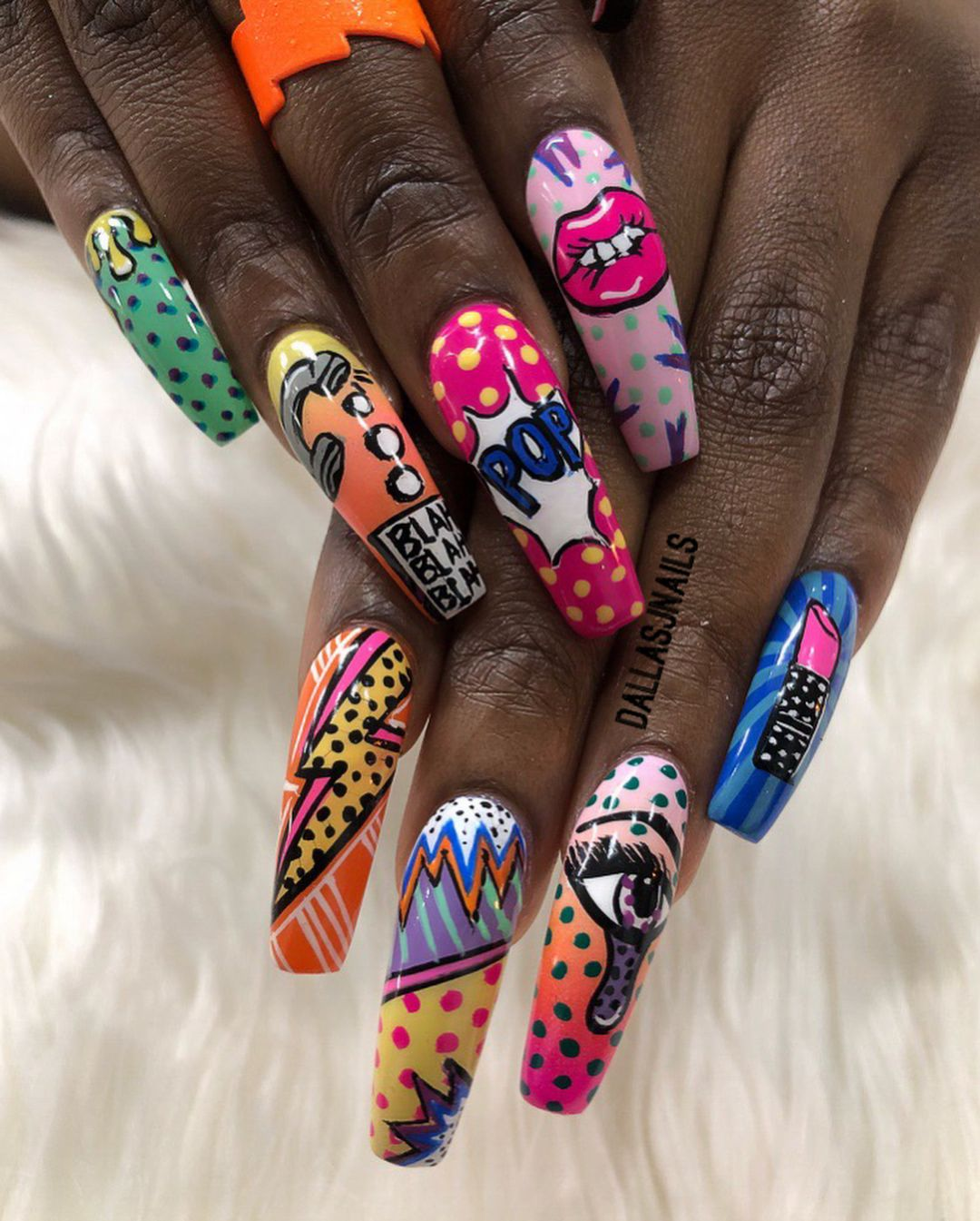 Dallasalexiaxo On Instagram Pop Art Inspired Long Nails