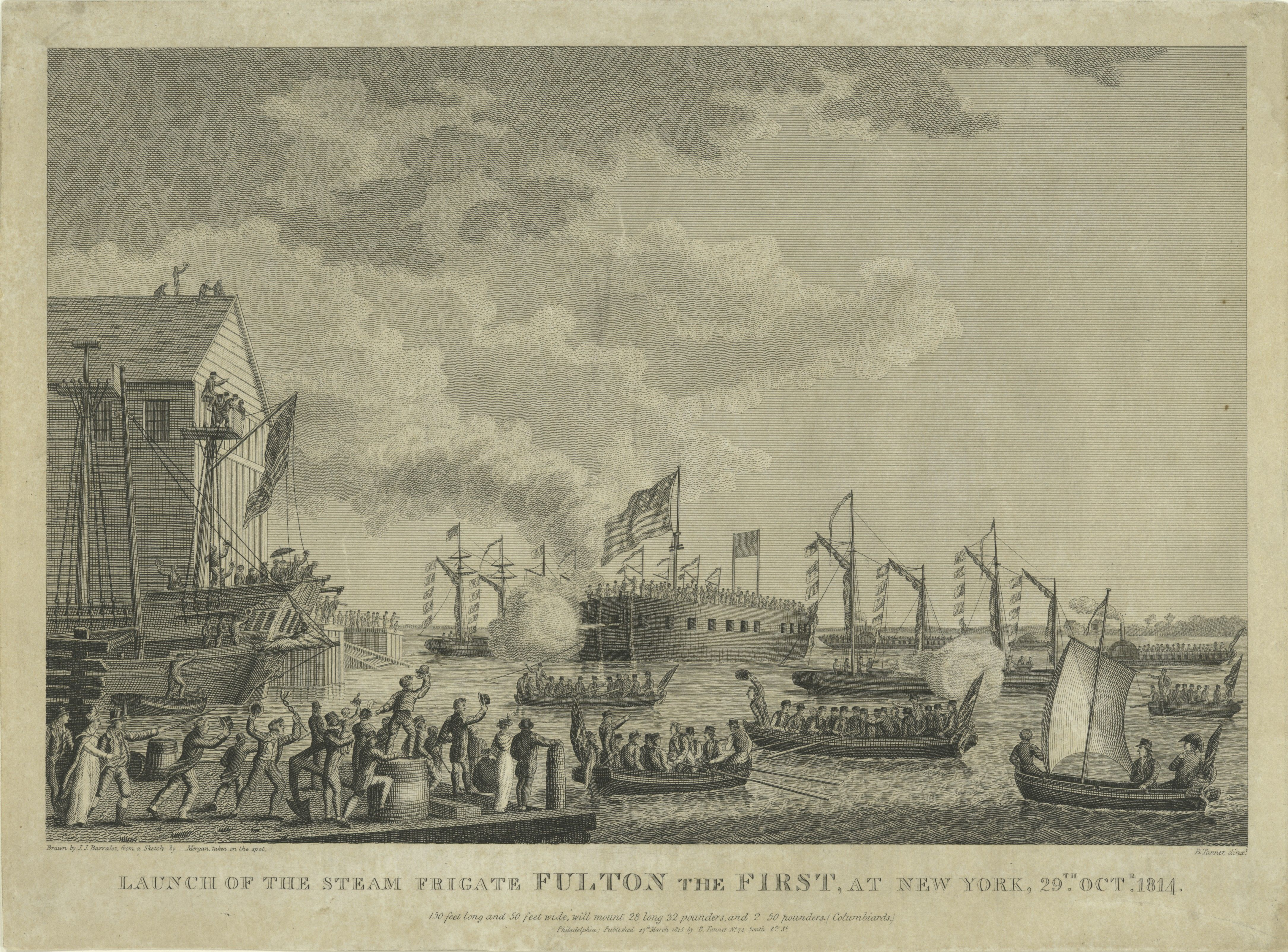 "launch of uss ""fulton the first"" in new york harbor"