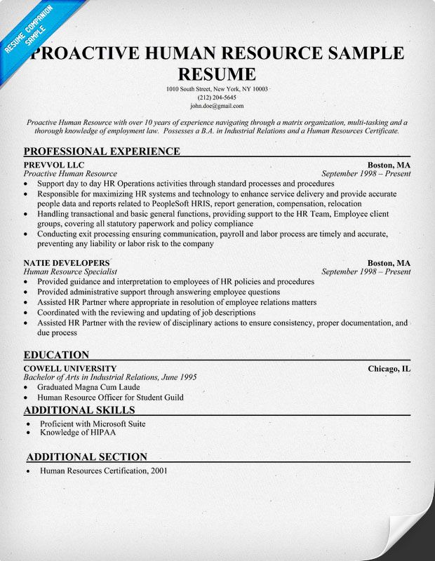 Proactive Human Resource Sample Resume (resumecompanion) #HR - employee relations officer sample resume