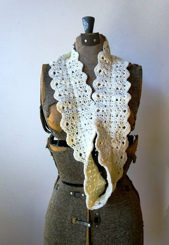 Infinity Scarf, neck cowl, crocheted lace - Cream white merino wool