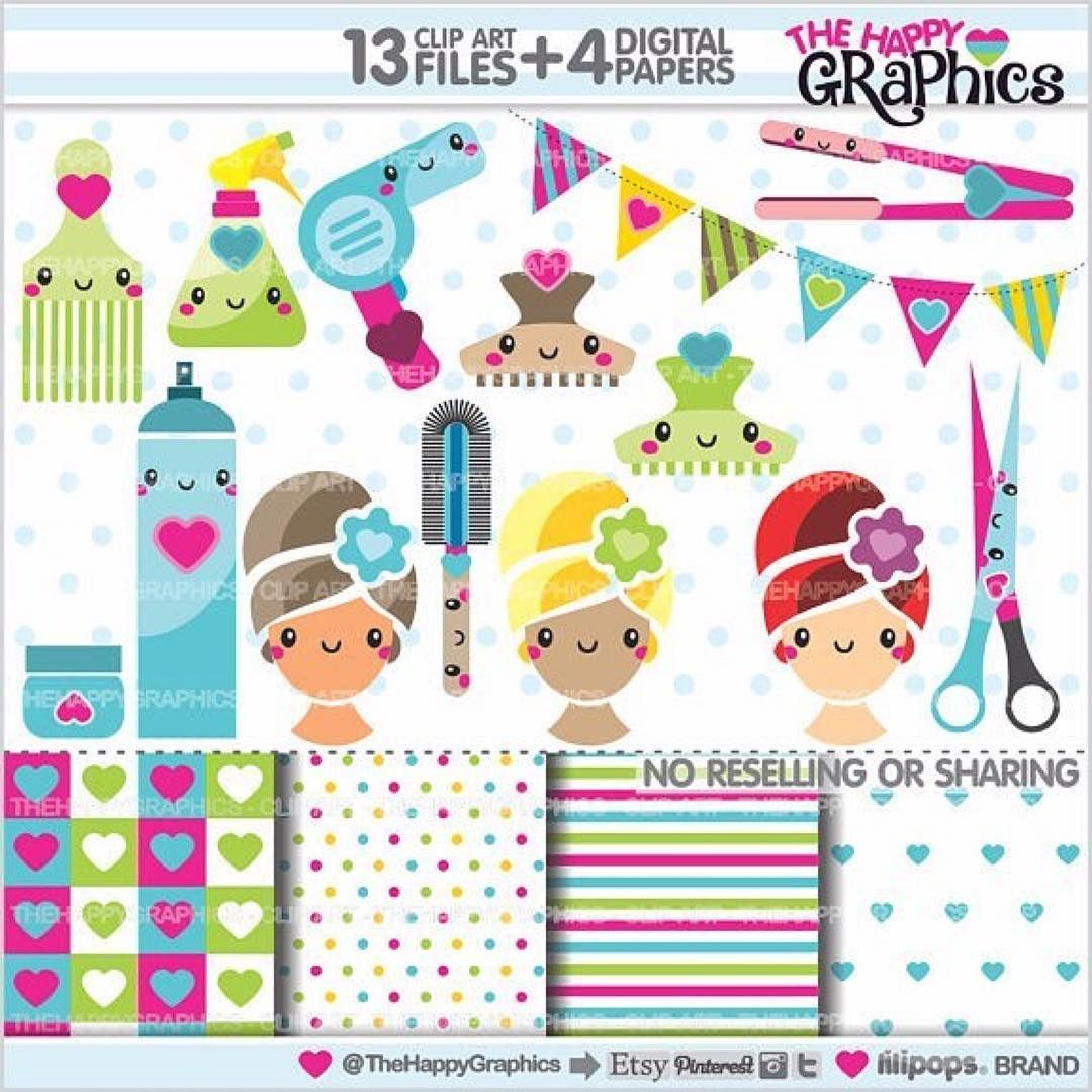 Salon Scrapbooking Graphics Pack Salon Cliparts Digital Paperspersonal Small