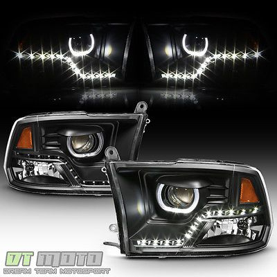 Black 2009 2017 Dodge Ram 1500 2500 3500 Drl Led Projector Halo Headlights Lamps