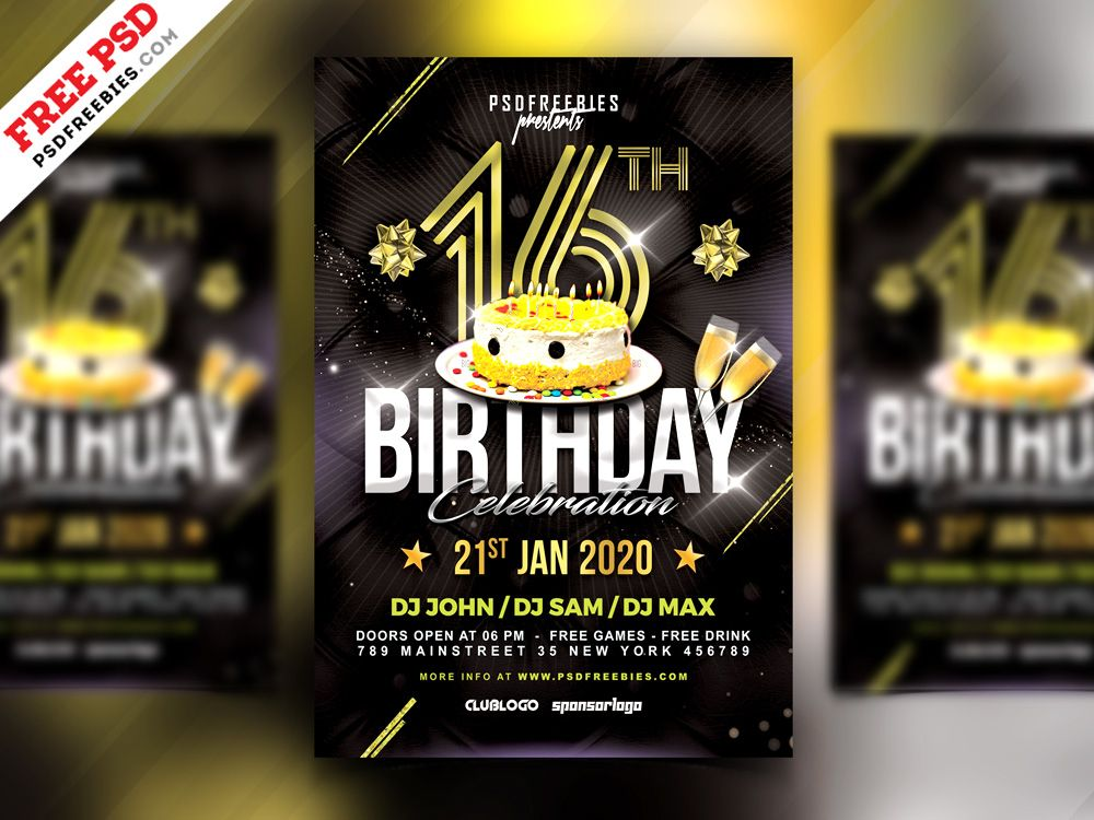 Birthday Night Party Flyer PSD freebie  free file Pinterest