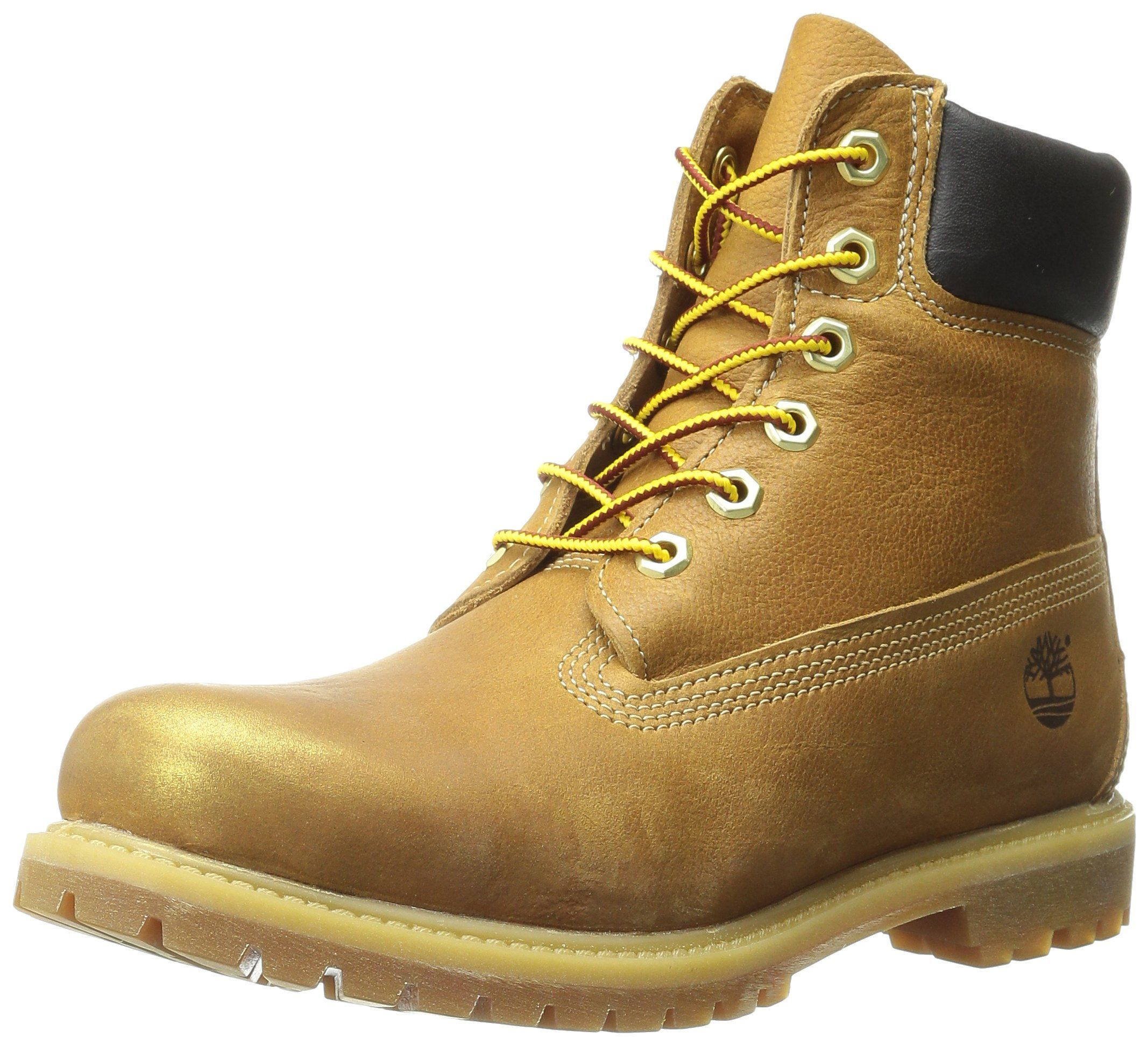 Timberland Women's 6 Inch Premium Boot, Wheat Rugged W Gold/Metallic  Finish, 6.5