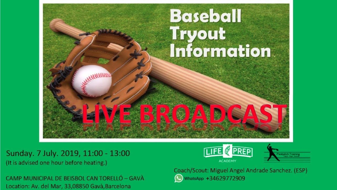 Baseball Tryouts 13u 17u Players Sunday 7 July 2019 11 00 13 00 It Is Advised One Hour Before Heating Camp Municipal De Baseball Del Mar Miguel Angel