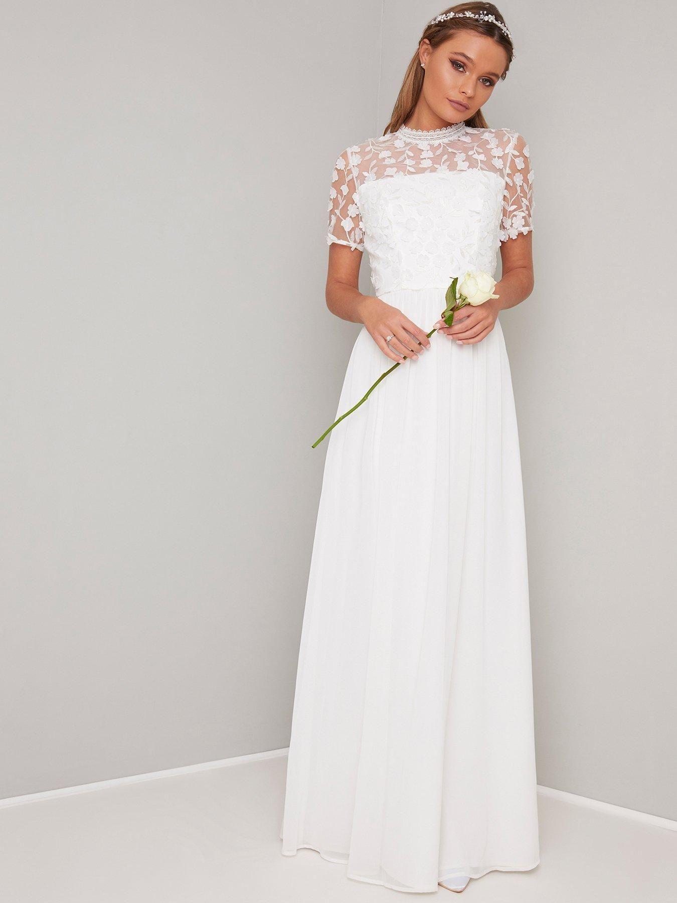 Chi Chi London Bridal Alix Crochet Top Maxi Dress White