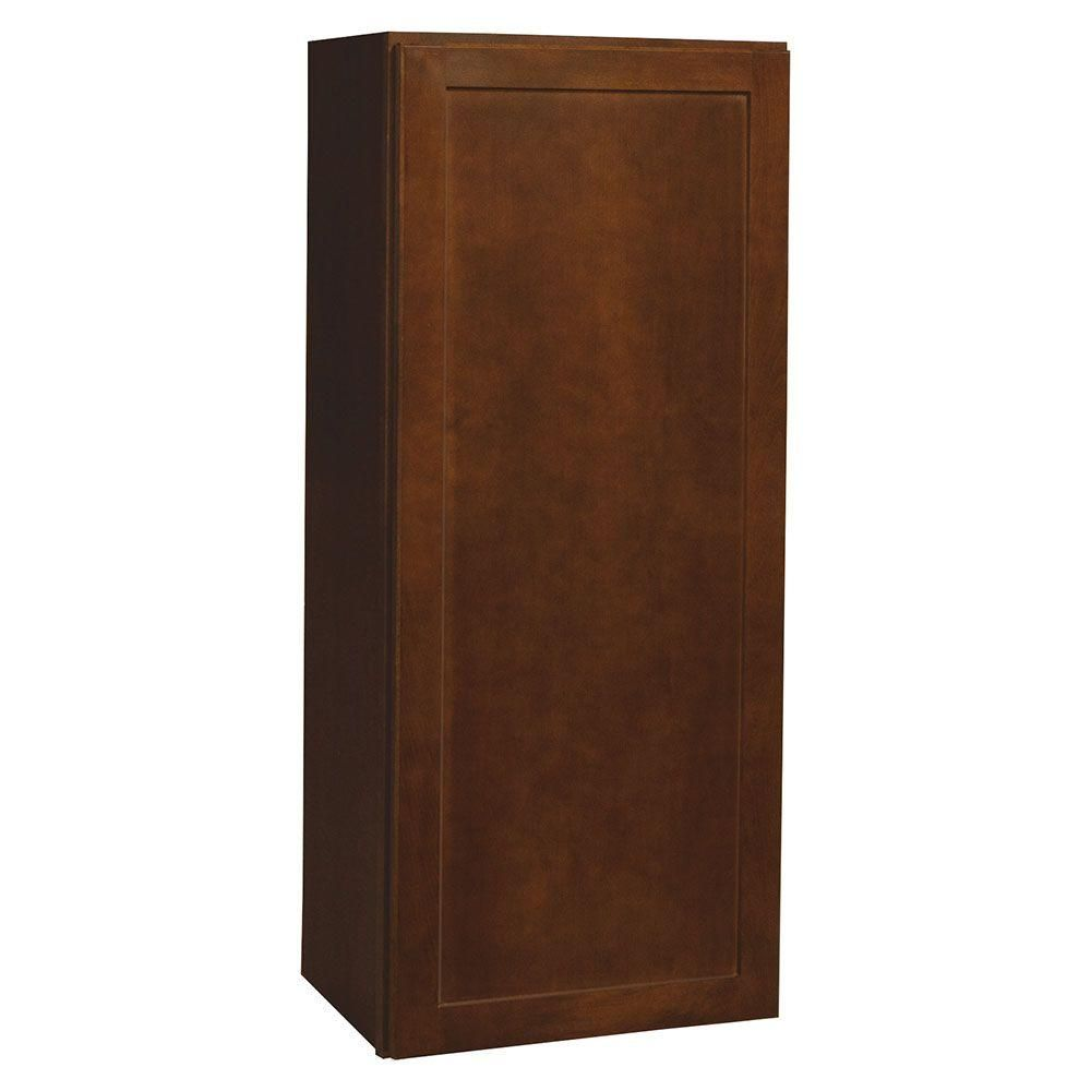 Assembled 18x42x12 in. Shaker Wall Cabinet in Cognac (Red)