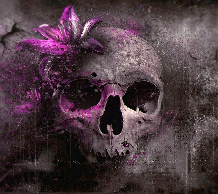 Purple Flowered Skull Wallpaper for Android phones ...