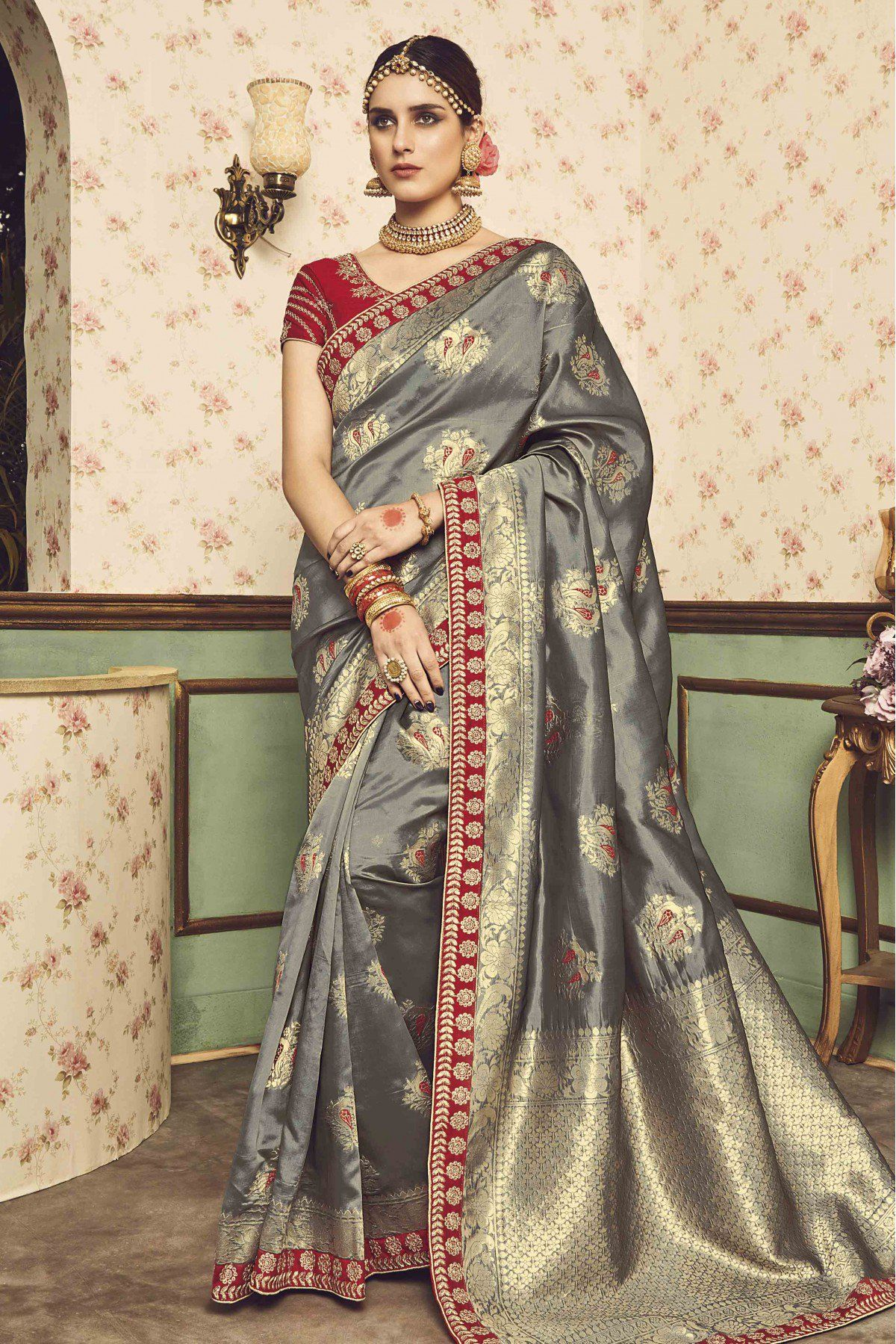 ef489d5e65a4 Buy Silk Saree In Grey Colour for women   ninecolours.com. Worldwide Free  Shipping Available!